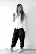 Pantalon Uniforme, lin épais noir