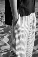 Sarouel Uniforme, lin rayures claires