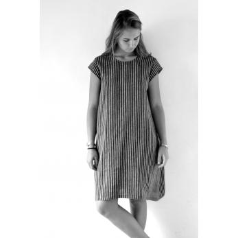 Uniform flared dress, short sleeves, dark stripes linen