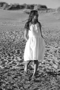 Robe à plis sans manches Uniforme, lin blanc