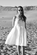 Uniform pleated dress sleeveless, white linen