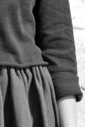 Uniform short pullover, black cotton knit