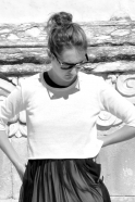 Uniform short pullover, white cotton knit