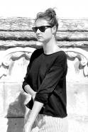 Unisex pullover, black cotton knit