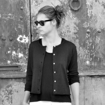 Uniform cardigan, black cotton knit