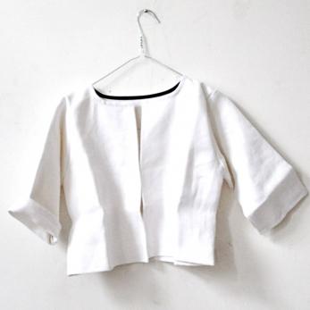 veste campagne, lin épais blanc