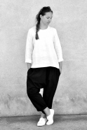 Blouse manches longues Uniforme, lin blanc