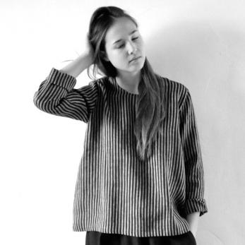 Uniform blouse long sleeves, dark stripes linen