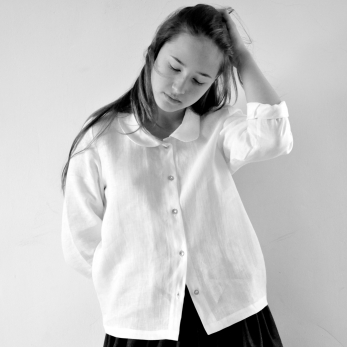 Uniform long sleeves shirt, white linen