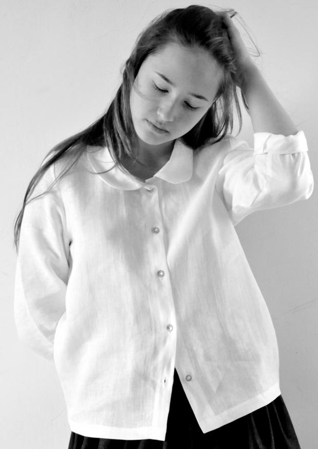Chemise manches longues Uniforme, lin blanc