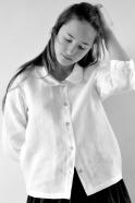 Uniform long sleeves shirt, white linen