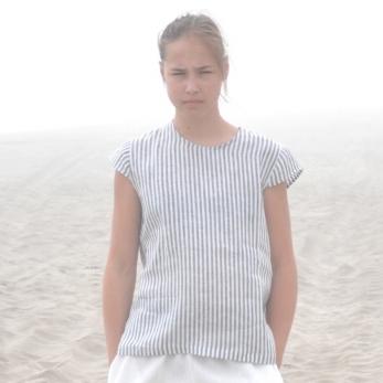 Uniform short sleeves blouse, light stripes linen