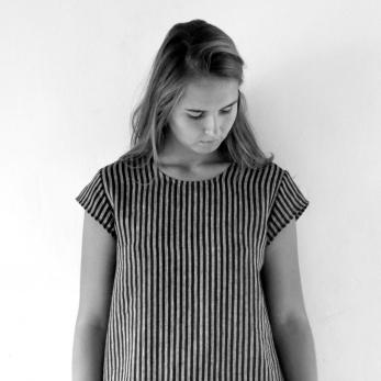 Uniform short sleeves blouse, dark stripes linen