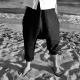 Pantalon sarouel, lin noir