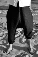 Sarouel Uniforme, lin noir