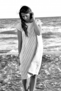 Robe évasée Uniforme, manches courtes, lin rayures claires