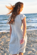 Uniform flared dress, short sleeves, light stripes linen