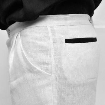 Pantalon mixte, lin épais blanc