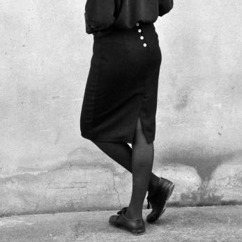 "Skirt ""woman"", black wool blend"