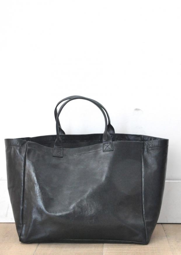 Cabas carré, cuir noir