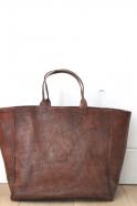 Cabas carré, cuir marron