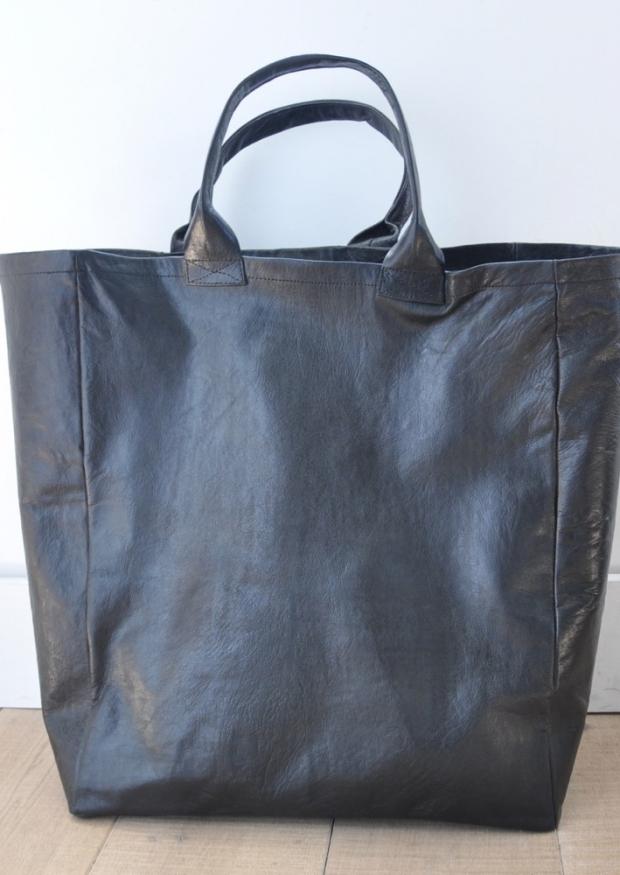 cabas en cuir noir, taille 3, VDC pour la Liane
