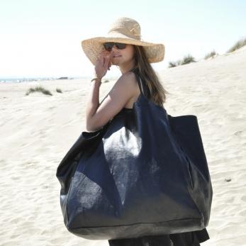 BIG BAG, black leather