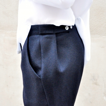 "Trousers ""man"", black wool drap"