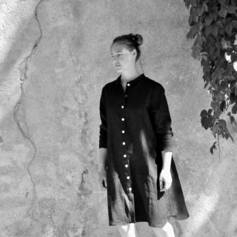 """Robe """"femme"""", lin noir"""