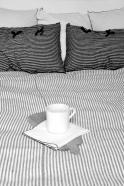 Duvet cover, light stripes linen