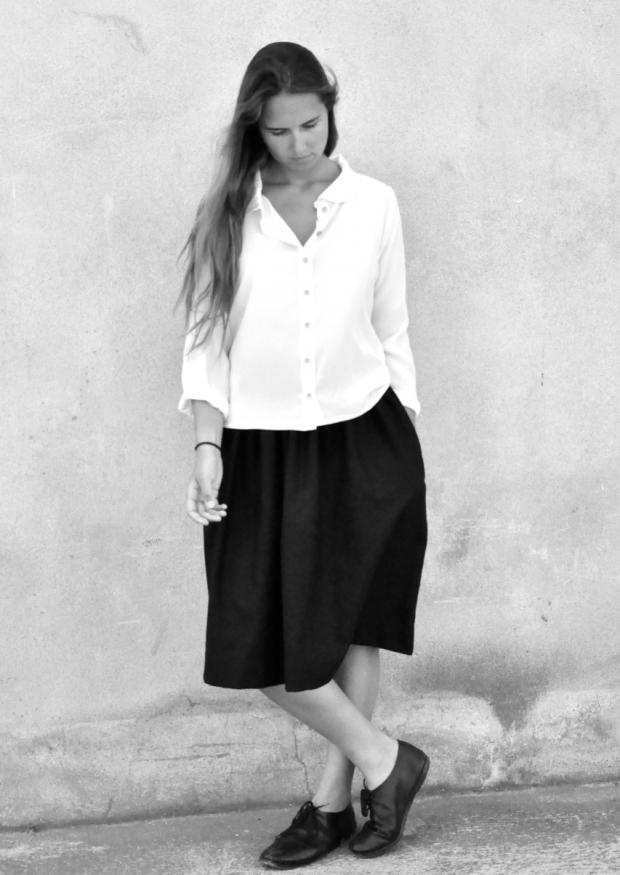 Long sleeves shirt, white silk