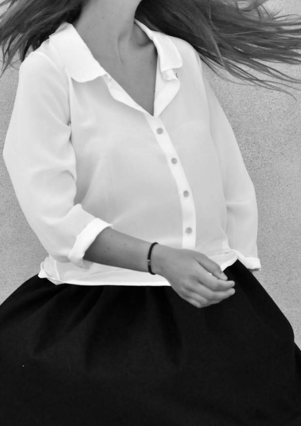 Chemise manches longues, soie blanche