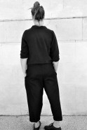Chemise manches longues, soie noire