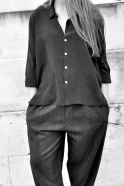 Chemise mixte, soie noire