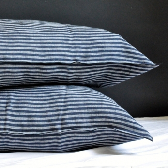Pillow case, dark stripes linen