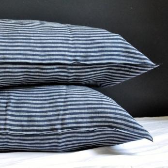 Pillow case, dark stripes linen