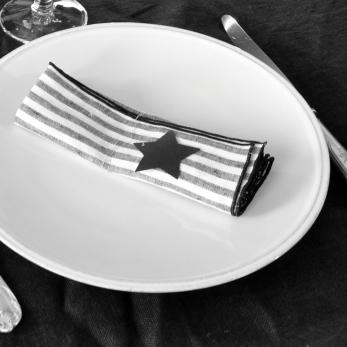 Serviette de table, lin rayures claires