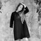 Robe évasée manches longues, lainage noir