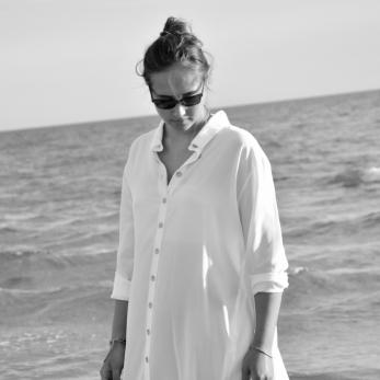 Robe-chemise, soie blanche