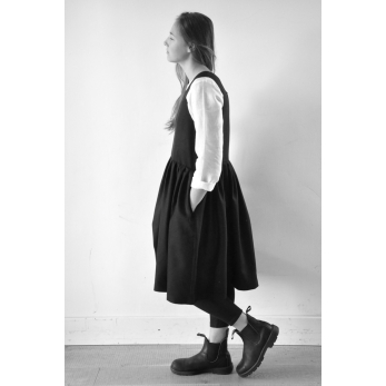 Pleated dress, sleeveless, black wool blend