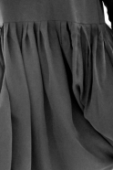 Pleated dress,  long sleeves, black silk