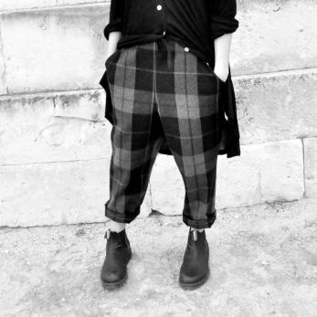 Pantalon à poches, drap écossais