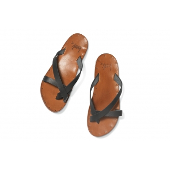 Starling sandals, black and tanned leather