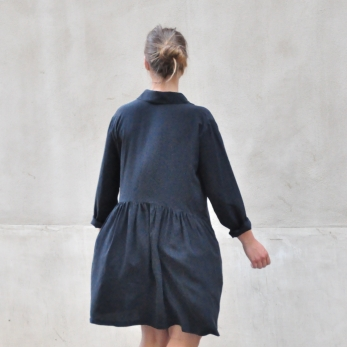 Robe-chemise, soie noire