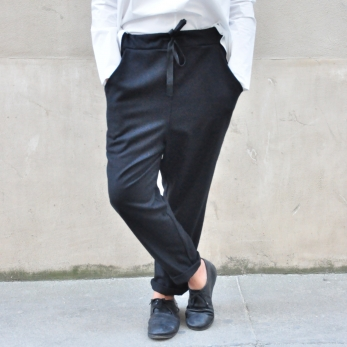 Pockets trousers, black wool blend