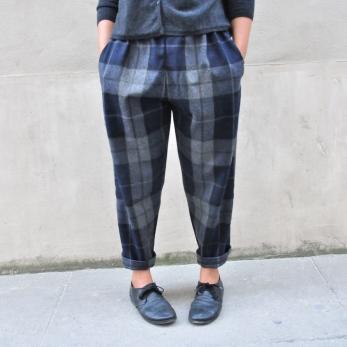 Pantalon classique, drap écossais