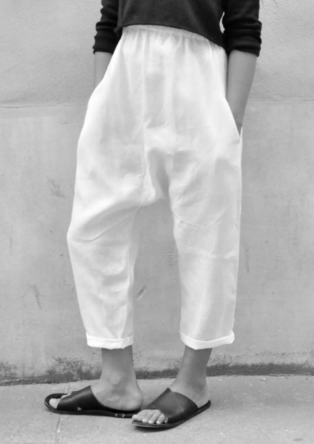Sarouel Uniforme, lin blanc
