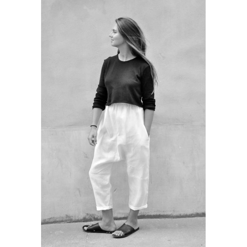 pantalon sarouel lin blanc le vestiaire de jeanne sarl. Black Bedroom Furniture Sets. Home Design Ideas