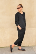 Long sleeves blouse, black silk