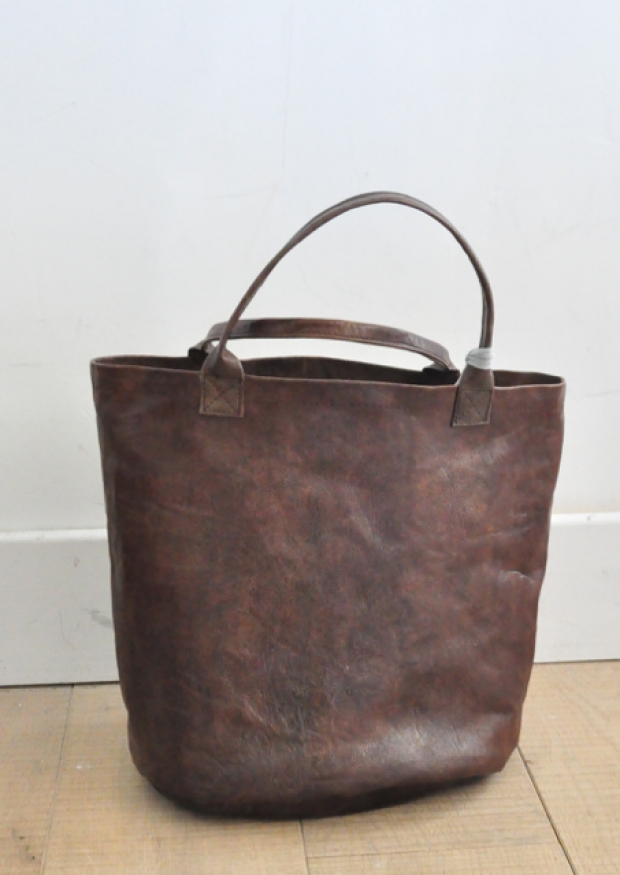 Bucket bag, brown leather